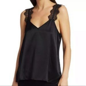 Cami NYC Silk Chelsea V Neck Lace Strap Tank Top